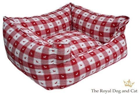 The Royal Dog & Cat Hundebett rechteckig rot kariert mit kleinen Elchen