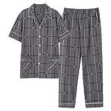 Pijamas Set Hombres Homewear, Conjuntos De Algodón Cómoda Floja Respirable Piel-amistosa Lavable A Máquina Fácil De Limpiar for Los Hombres Conjunto Vida Diaria Inicio Informal Khan Al Vapor Ropa