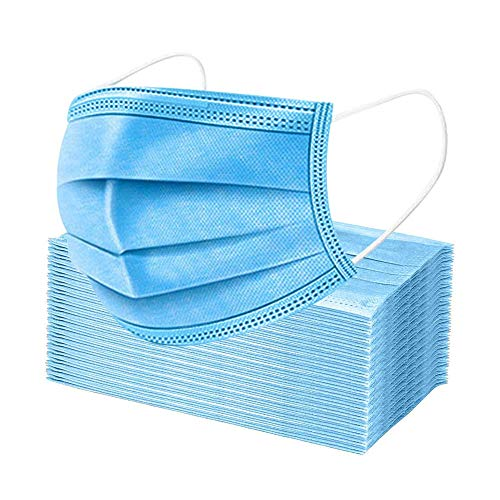 Premium 3 Ply Disposable Face Masks, 50 Pack, Blue Protective Safety Mask for Dust, Air Pollution with Elastic Ear-Loop