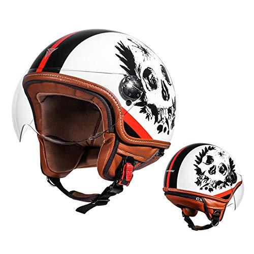 LLHH Casco De Motocicleta,Medio Casco De Motocicleta Casco Abierto Protección para Motocicleta Scooter Bicicleta Casco Mucha Comodidad y Máxima Seguridad.