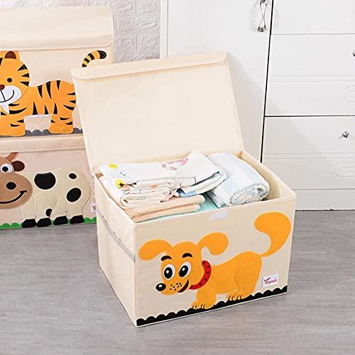 Caja de almacenamiento plegable de dibujos animados con tapa Ropa / edredón / juguetes para niños / caja de almacenamiento de tela Oxford diversa-B, perro