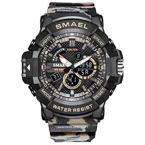 JTTM Reloj Militar para Hombre Deporte Relojes Analógico Y Digital LED Electrónico Grande Relojes Resistente Al Agua 50M,Caqui