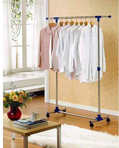 Kronenburg Kleiderständer auf Rollen, stufenlos höhenverstellbar 97 cm bis 165 cm – Garderobenständer stabil, freistehend – ausziehbare Kleiderstange