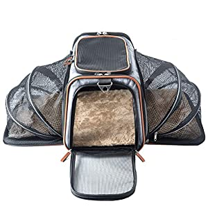 Premium Luxury Tote Airline Approved Expandable Pet Carrier by Pet Peppy-Two Side Expansion, Designed for Cats, Dogs, Kittens, Puppies – Extra Spacious Soft Sided Carrier! (Grey)