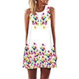 iYBUIA Summer Vintage Boho Women Loose Summer Sleeveless 3D Floral Print Bohe Tank A-Line Mini Dress(White,XL)