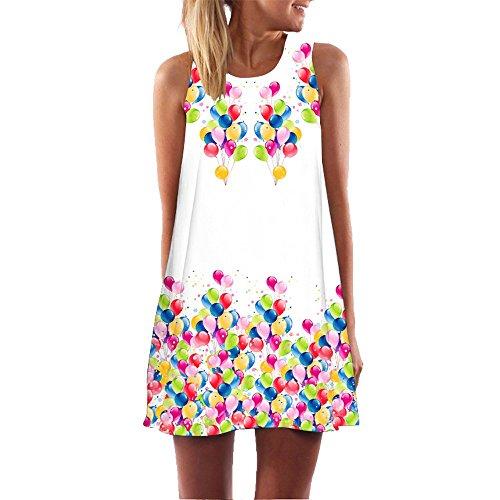 iYmitz Damen Sommer Vintage Boho Ärmelloses Sommerstrand Gedruckt Kurzes T-Shirt Minikleid Blumenkleid Trägerlose Tops
