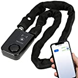 Solebe Bluetooth Smart Chain Lock Bike/Motorcycle/Gate/Door Keyless Lock with Anti Theft Alarm 110dB Phone APP Control(Black 31.5 Inch)