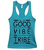 Cute Yoga Racerback Workout Tanks -Good Vibe Tribe Royaltee Shirts Large, Tahiti Blue