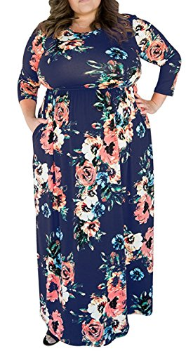Alaroo Plus Size 3/4 Sleeve Long Cocktail Maternity Maxi Dress with Pocket Navy Blue 4X