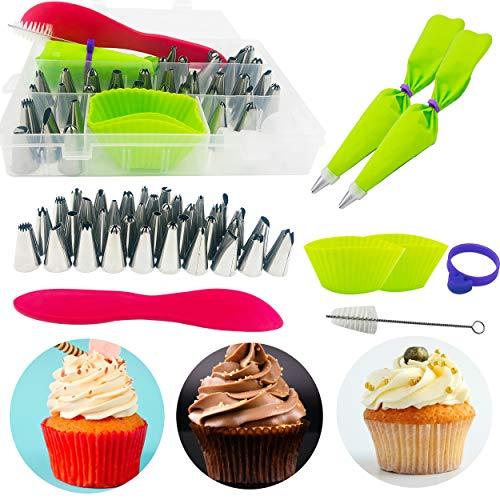Douilles Pâtisserie INOX,45 Pièces Gâteau DIY Kits,pour Gâteaux et Cupcakes