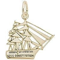 10Kイエローゴールド Uss 憲法チャーム ブレスレットとネックレス用チャーム