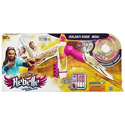 Nerf Rebelle Exclusive Golden Edge Heartbreaker Bow with Bonus Target and Pink Crush Blaster Gift Bundle