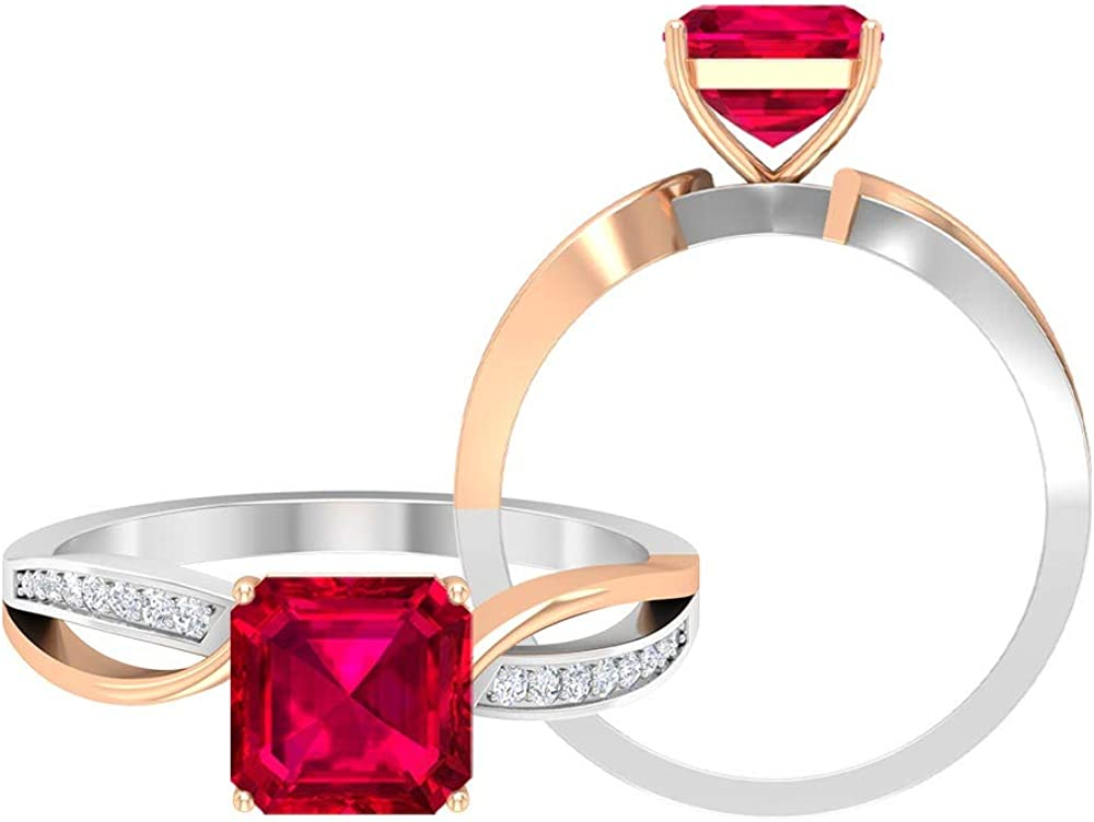 4 CT Two Tone Ring with Asscher Cut Created Ruby Solitaire and Moissanite Accents, Split Shank Ring (AAAA Quality), 14K Gold
