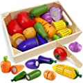 Airlab Wooden Play Food for Kids Kitchen Toys for Toddlers Cutting Pretend Toy Food Wooden Fruits Vegetables Gift for Boys Girls Educational Toys