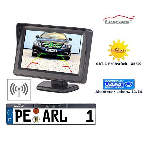 Lescars Funk Rückfahrkamera: Funk-Rückfahr-Kamera im Nummernschild-Halter mit 10,9-cm-TFT-Monitor (Funk Rückfahrkamera Komplettsystem)