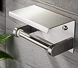 Toilettenpapierhalter Edelstahl Klopapierhalter mit Ablage WC Rollenhalter Selbstklebend Wandmontage für Badezimmer