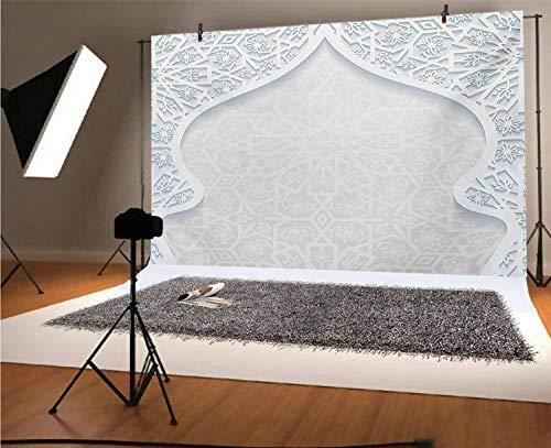 Toile de fond bleu pâle pour photographie en vinyle de style arabesque arqué persan avec motif floral culturel graphique pour obtention du diplôme, bal de danse, studio photo