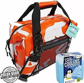 Polar Bear Coolers H2O Waterproof Cooler (Size 12 Pack) Tangerine & Fit & Fresh Cool Coolers Slim Ice 4-Pack (Bundle)