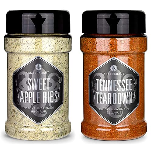 Ankerkraut Sweet Apple Ribs, 240g im Streuer, fruchtiger BBQ-Rub für Spare-Ribs und Schwein & Memphis Tennessee Teardown, 200 im Streuer, BBQ Rub Grillmarinade