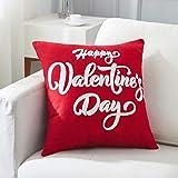 Federa per cuscino con scritta in inglese 'Happy Valentine's Day', 45 x 45 cm, motivo a lettere ricamate, regalo per San Valentino