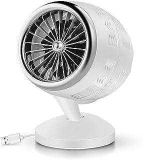 Ventilador De Sobremesa USB Aire Acondicionado, Creativo Aire Acondicionado, Turbofan De Doble Hoja, Inteligente 2 Velocidades Ajustables Para Dormitorio, Oficina, Dormitorio (blanco plateado)
