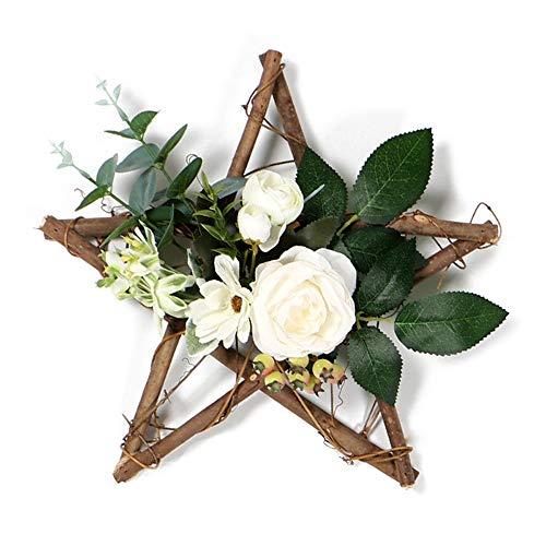 Moseng Corona de pentagrama de madera, simulación de flores artificiales para colgar en la pared, coronas para el hogar, puerta, fiesta, decoración de Navidad (A)