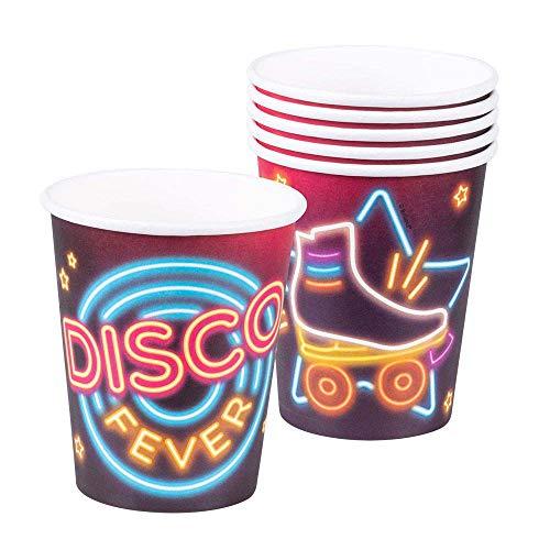 Boland 00761 - Partygeschirr Trinkbecher Disco Fever, 6 Stück, Fassungsvermögen 25 cl, 70er Jahre, umweltfreundliche Pappbecher, Einwegbecher, Geburtstag, Überraschungsparty, Mottoparty, Karneval