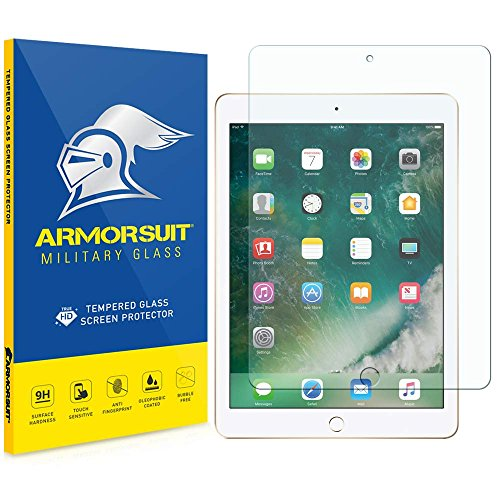 Apple iPad (2017, iPad Pro 9.7, Air 2, Air) Screen Protector, Armorsuit MilitaryGlass 9H Tempered Glass Screen Protector for Apple iPad 2017, iPad Pro 9.7, iPad Air 2, iPad Air