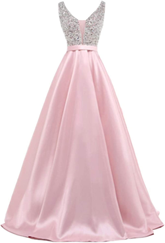 Kailiya VNeck Beads Bodice Open Back A Line Long Evening Party Elegant Satin Dress
