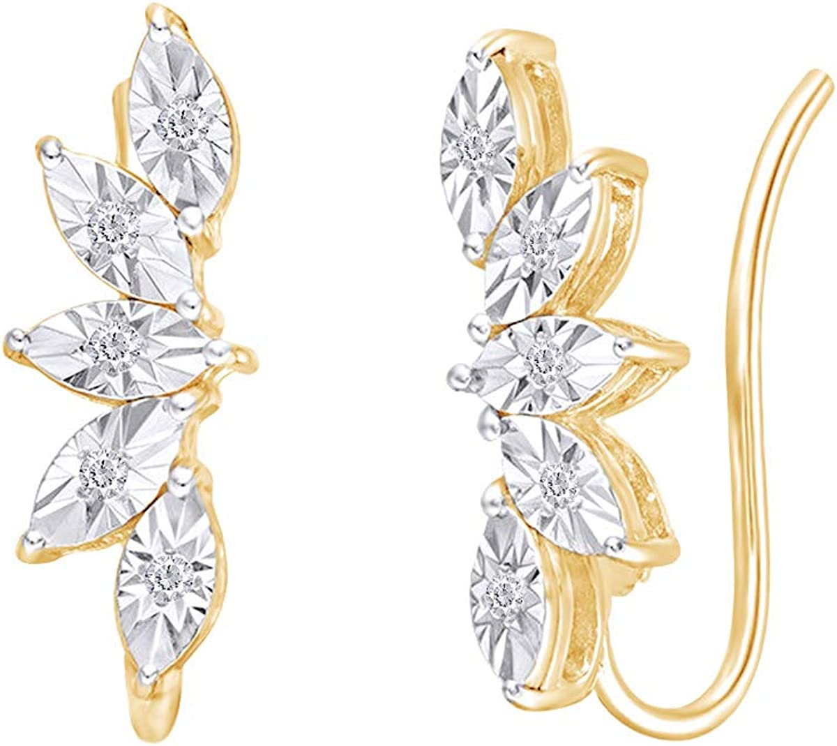 Samaira Jewelry Miracle List price Set Natural Diamond Crawler Leaf Fan Ear 5 popular