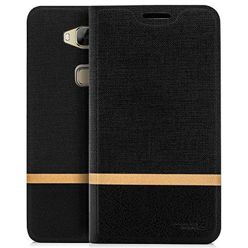 zanasta Tasche kompatibel mit Huawei GX8 (G8) Hülle Flip Case Schutzhülle Handytasche mit Kartenfach Schwarz