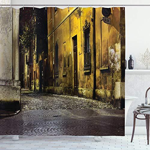ABAKUHAUS Straße Duschvorhang, Alte Straßen der dunklen Stadt, mit 12 Ringe Set Wasserdicht Stielvoll Modern Farbfest & Schimmel Resistent, 175x200 cm, Mehrfarbig