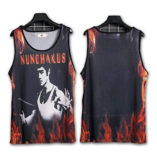 SummerThe New Herren Basketball T-Shirt Fashion Harden James Curry Trikot Bruce Lee Ice Mesh Sport Weste Gedruckt Schnelltrocknende Weste Black-2- L (110-130 kg )