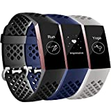 Maledan Compatible with Fitbit Charge 3/Charge 3 SE and Fitbit Charge 4 Bands, Breathable Sport Replacement Band with Air Holes for Women Men, 3 Pack Black/Navy Blue/Gray, Large