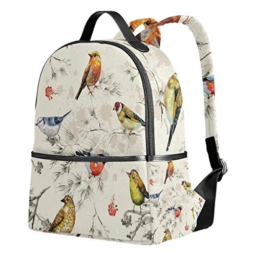 Ahomy Schulrucksack, Zweige Blumen Vogel Muster Büchertasche Reise groß Casual Rucksack Daypack für Teenager Mädchen Jungen