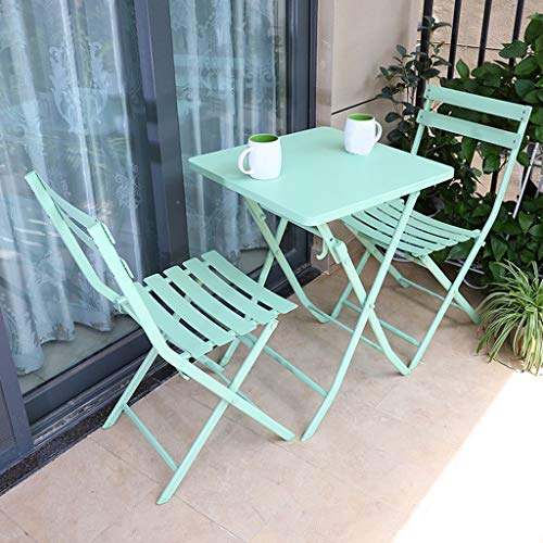 Wenhui Patio al Aire Libre de 3 Piezas Set Bistro, Acero Bistro Mesa Plegable y Juego de sillas de 3 Piezas de Muebles Resistente jardín Patio Balcón Terraza El Tiempo (Color : Verde)