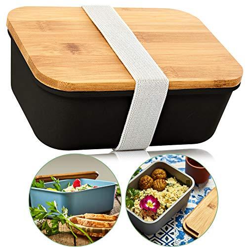 bambuswald© ökologische Aufbewahrungsbox mit Deckel aus 100{3a70f1615c5f907ccd5259de8760f3e79e9d78394c4540b08e98581f2d6eaa47} umweltfreundlichen Bambus & Gummiband Verschluss | Lunchbox in 4x Größen - Brotdose Brotbox Transportbox Behälter Box Dose Vorratsdose