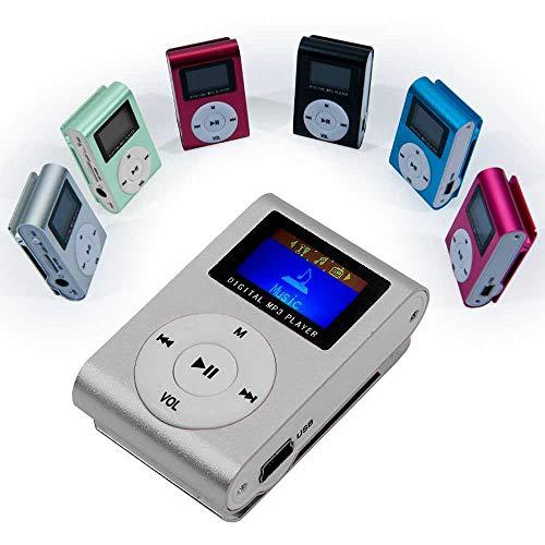 Ociodual Stereo Metall Clip MP3 Silber Mini Player FM Radio LCD Display bis 32GB Micro SD