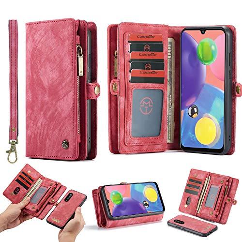 HATA - Funda de piel para Samsung M30S, monedero con cierre magnético extraíble, varios compartimentos, 11 compartimentos para tarjetas, cierre de cremallera, monedero, Samsung M30S