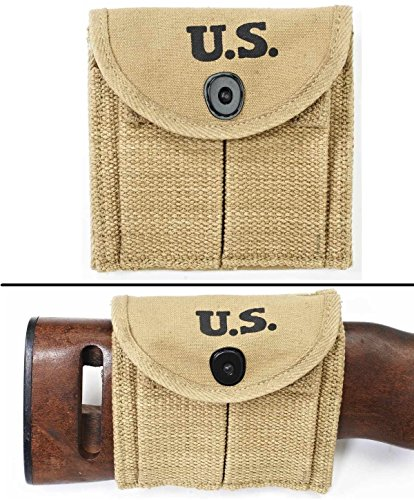 Ultimate Arms Gear M1 M-1 Carbine Rifle WWII U.S. Military Marked Khaki Tan Canvas Magazine Ammo Ammunition Cartridge Rounds Pouch Fits around Buttstock Stock or Pistol Waist Belt Holds Two 15 Round .30 Mags