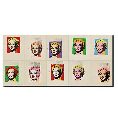 Abstracto Diez Obras Poster Mujer Retrato Pared Arte Cuadros Andy Warhol Marilyn De La Lona óLeo Pintura para Salon Recamara Obras Poster Mujer 40x80cm No Marco