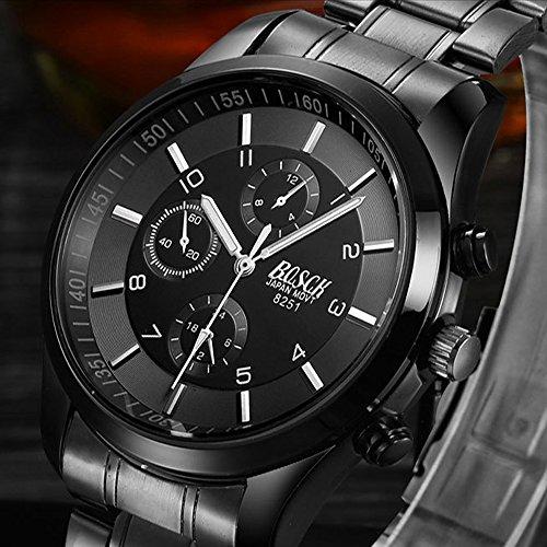 『ZDTech 腕時計 クロノグラフ デイト クォーツムーブメント 海外モデル メンズ ウォッチ (ブラック)』の6枚目の画像