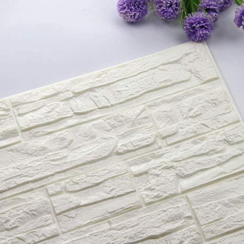 3D-Stein Hintergrund, DIY Abnehmbare Schälen und Kleben PE-Schaum Wandaufkleber, Schallschutz Tapete für Wohnzimmer, Schlafzimmer, Bar, TV Wand (Weiß, 12 PCS)