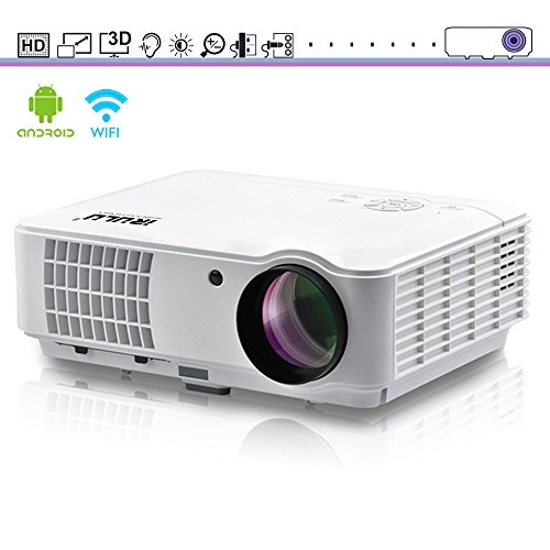 WiFi Projector iRULU 10Pro HD 720P Video projector, Android 4.4 8GB Max 200' Big Screen Support 1080P Video, High Brightness LED Projector For Movies Games Parties Home Cinema Theater