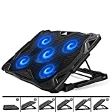 Pccooler Laptop Cooling Pad, Portable Laptop Stand with 6 Angle Adjustable & 5 Quiet Blue LED Fans for 12-17.3 Inch Gaming Laptop, Laptop Cooler Built-in Dual USB Ports Support Mouse Device, Keyboard