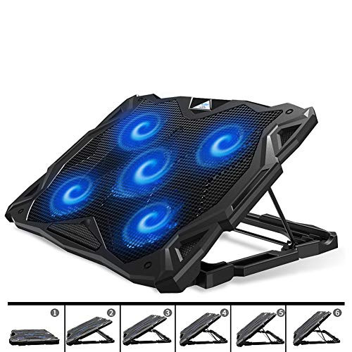 PCCOOLER Laptop Cooling Pad, Portable Laptop Stand with 6 Angle Adjustable & 5 Quiet Blue LED Fans for 12-17.3 Inch Gaming Laptop, Laptop Cooler Built-in Dual USB Ports Support Mouse, Keyboard Device