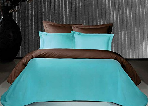 Salomé Prestige Housse de Couette Bicolore et réversible Satin de Coton 120 Fils/cm2-200x200 - Chocolat/Turquoise