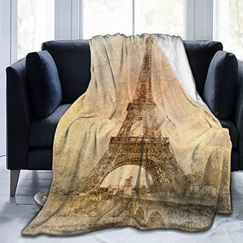 """NOLOVVHA Decke Werfen,Retro-Stil - Eiffelturm,Mikrofaser Ganzjahresbett Couch,50\"""" x 60\"""""""