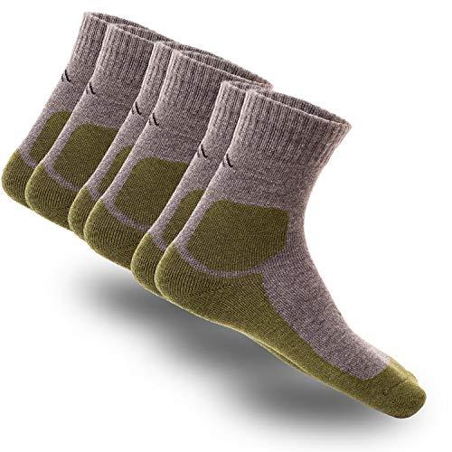 gipfelsport Wandersocken Adventure aus Merino Wolle - Socken für Outdoor, Trekking I Größe 32-35 I Grün I 3X Paar
