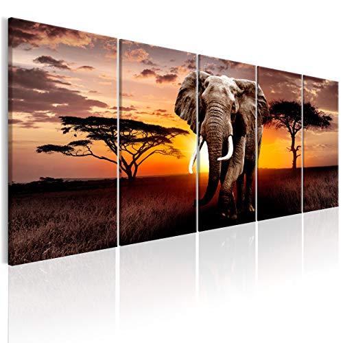 decomonkey Bilder Afrika Tiere Elefant 200x80 cm 5 Teilig Leinwandbilder Bild auf Leinwand Wandbild Kunstdruck Wanddeko Wand Wohnzimmer Wanddekoration Deko Landschaft Baum braun